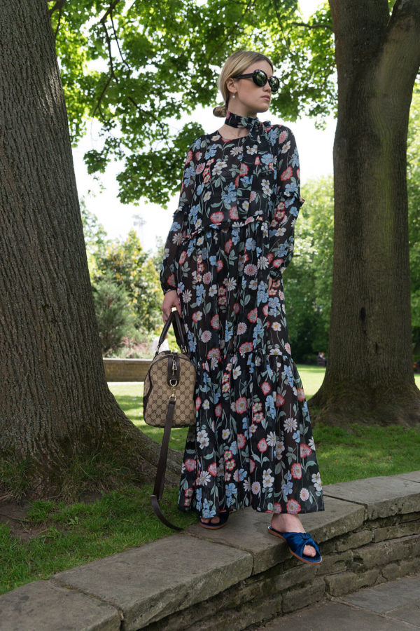Black Floral Maxi Dress With Frill Detail
