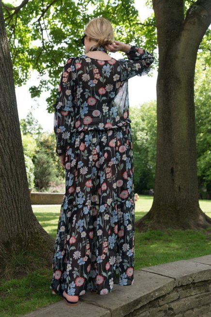Black Floral Maxi Dress With Frill Detail Back