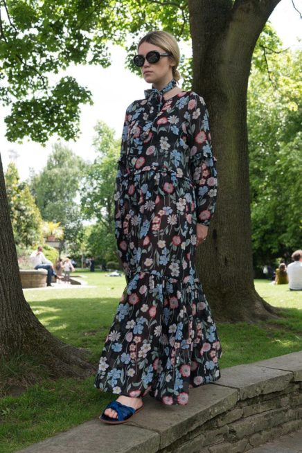 Black Floral Maxi Dress With Frill Detail Front Side