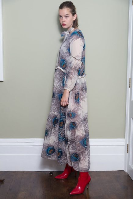 Peacock Maxi Dress With Frill Detail Side