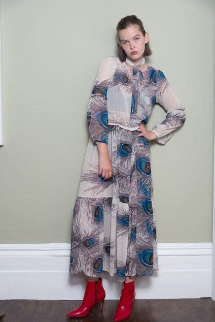 Peacock Maxi Dress With Frill Detail