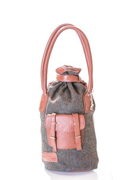 Diana Cognac and Tweed Handbag 1