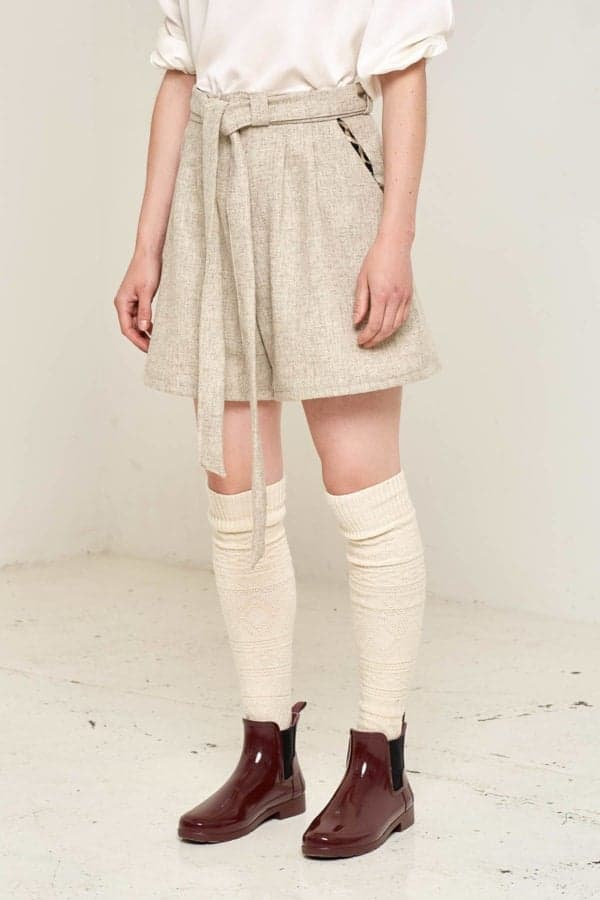 Doralis Wool Shorts Beige Front