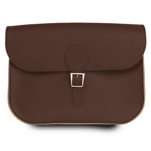 Full Pint Leather Satchel Bag Chocolate Brown