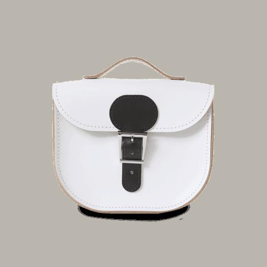 Half Pint Leather Cross Body Bag White Black