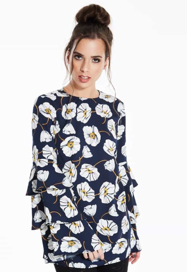 Madam-Rage-Floral-Tiered-Sleeve-Top