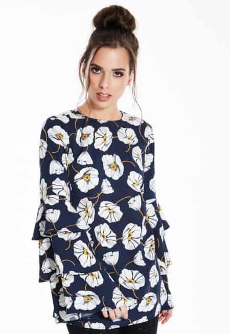 Madam-Rage-Floral-Tiered-Sleeve-Top