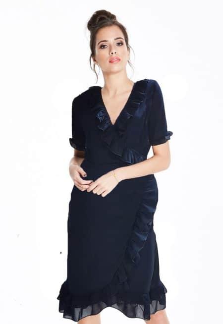 Mamdam-Rage-Navy-Ruffle-Wrap-Dress