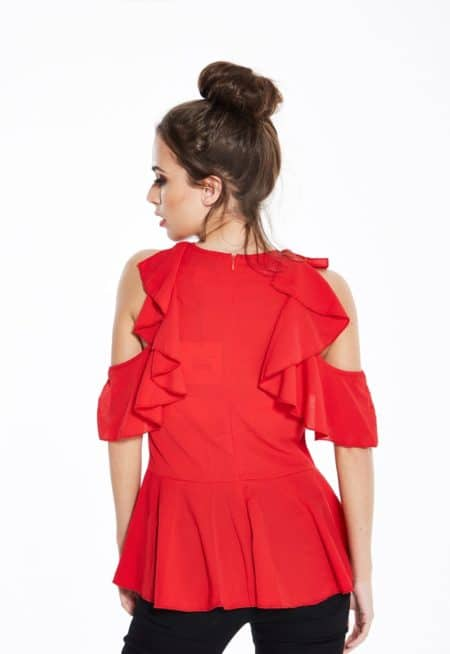 Madam-Rage-Red-Ruffle-Shoulder-Top