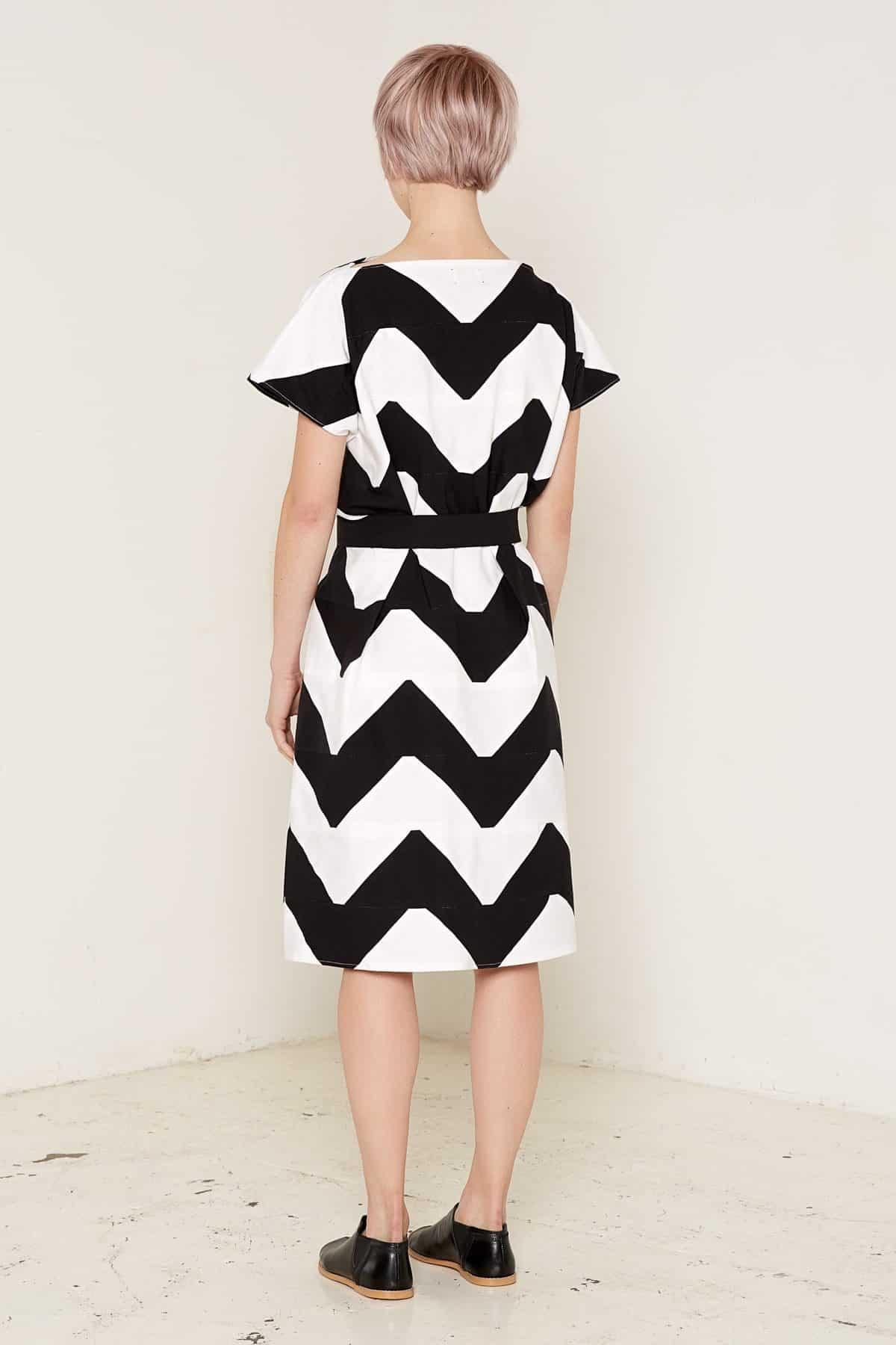 Venus Dress Black and White Back