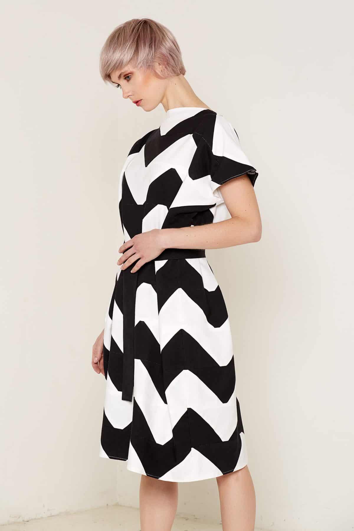 Venus Dress Black and White Front