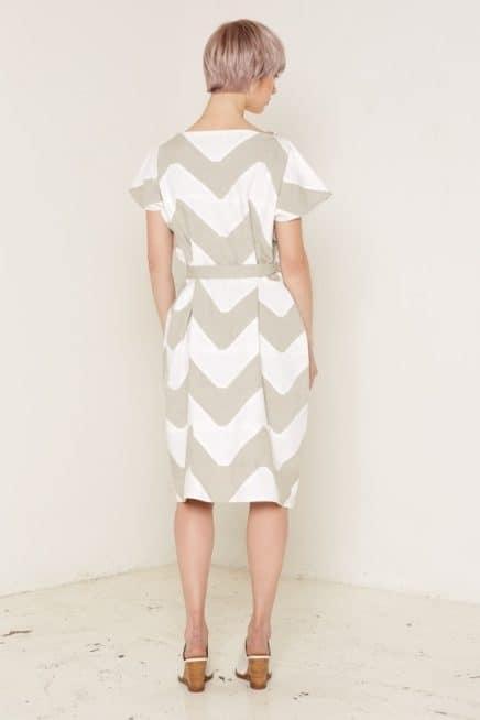 Venus Dress Beige and White Back