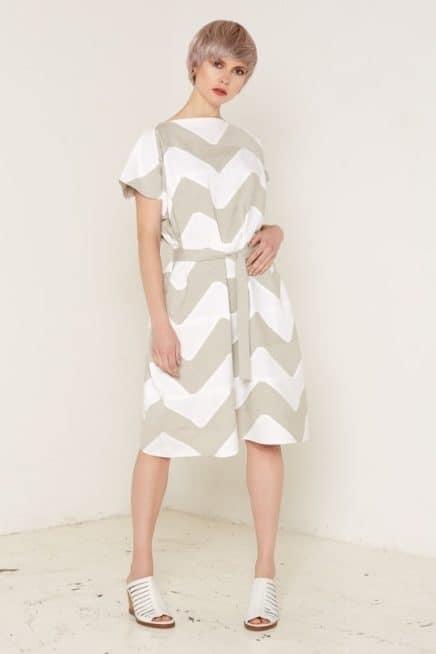 Venus Dress Beige and White Full