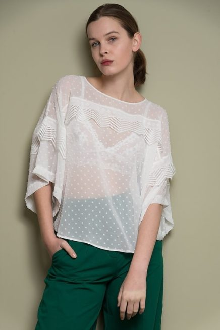 White Plumetis Cape-Top With Lace Detail Front