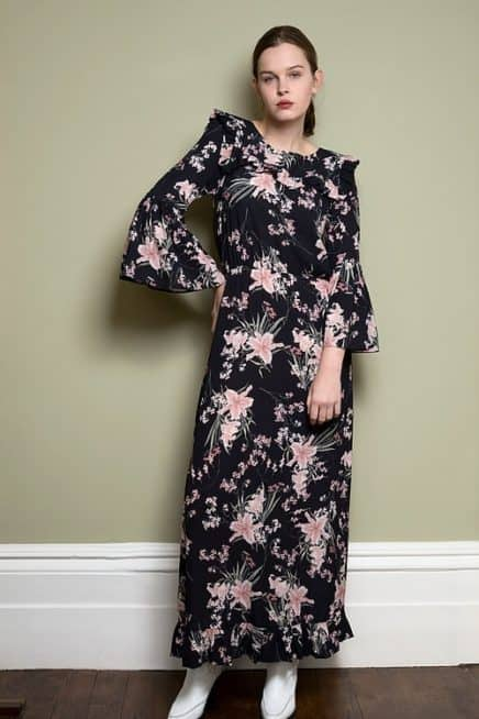 Black Floral Maxi Dress With Frill Detail And Bell Sleeves Font1