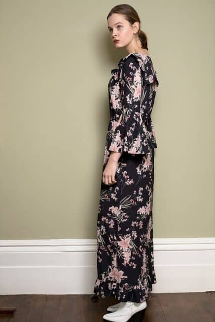 Black Floral Maxi Dress With Frill Detail And Bell Sleeves Side