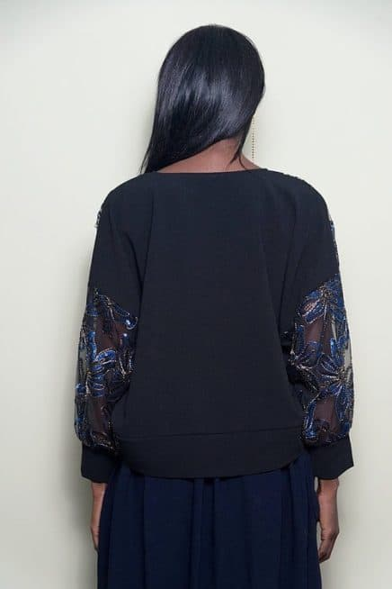Black Oversized Top With Sequinned Sleeves Back