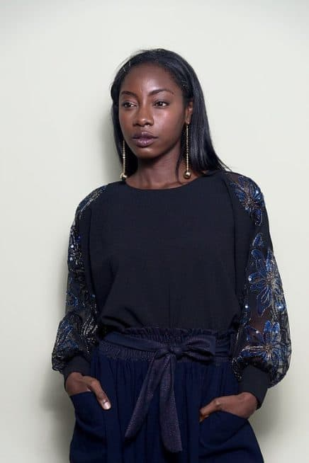Black Oversized Top With Sequinned Sleeves Font