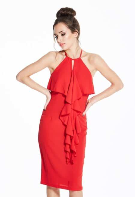 Madam-Rage-Ruffle-Front-Midi-Dress
