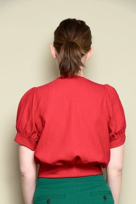 Red Open Front Top With Floral Detail And Short Puff Sleeves Back