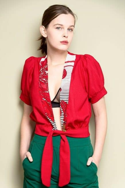 Red Open Front Top With Floral Detail And Short Puff Sleeves Font