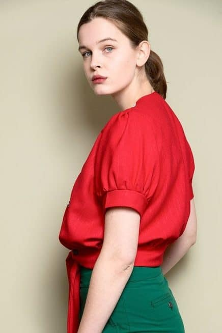 Red Open Front Top With Floral Detail And Short Puff Sleeves side