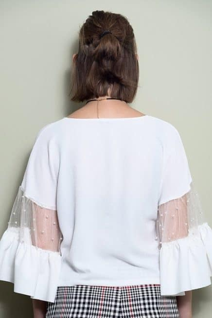 White Top With Ruffle Mesh Sleeves Back