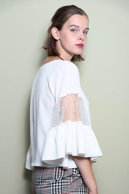 White Top With Ruffle Mesh Sleeves Side 1