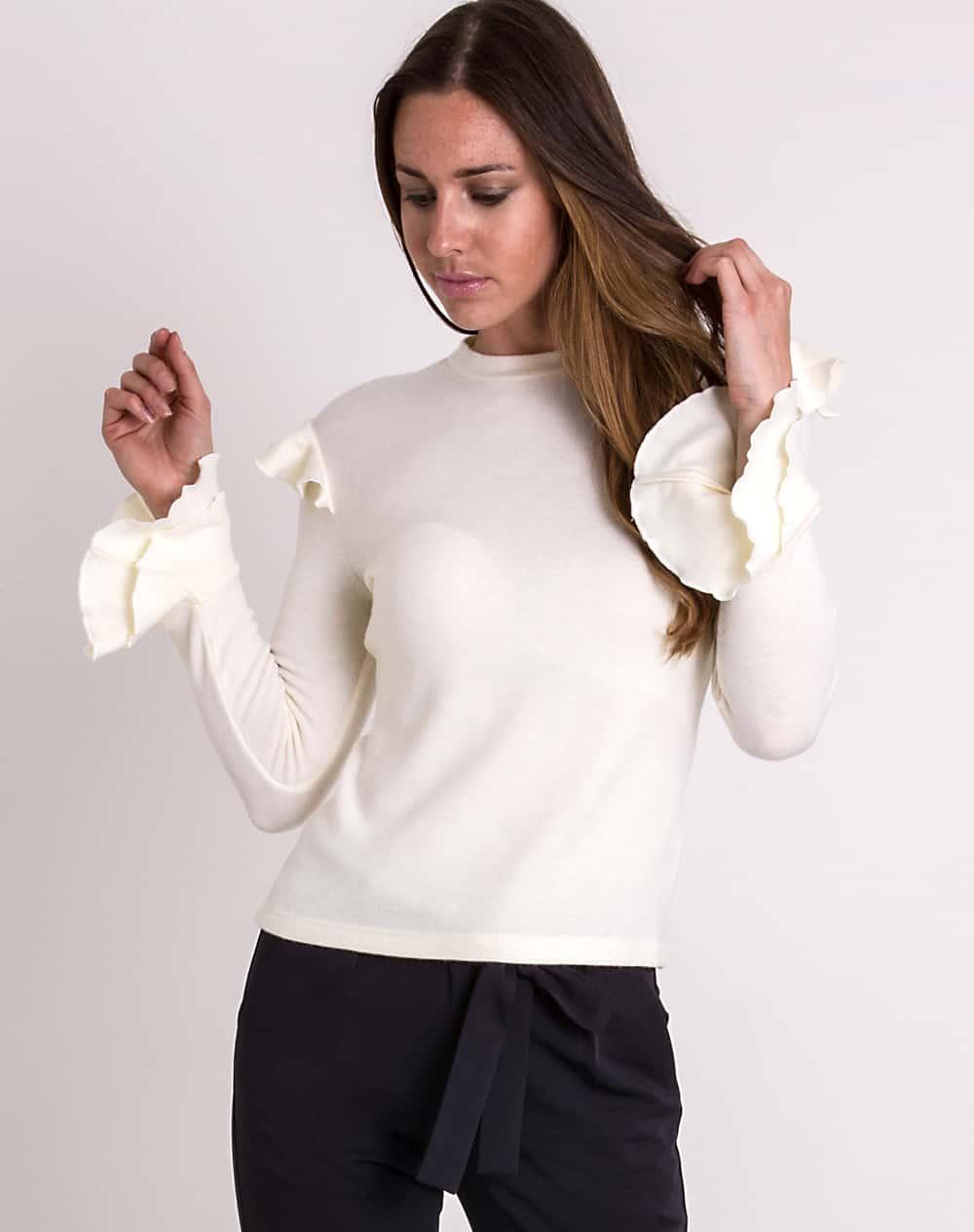 Frill-sleeve-jumper