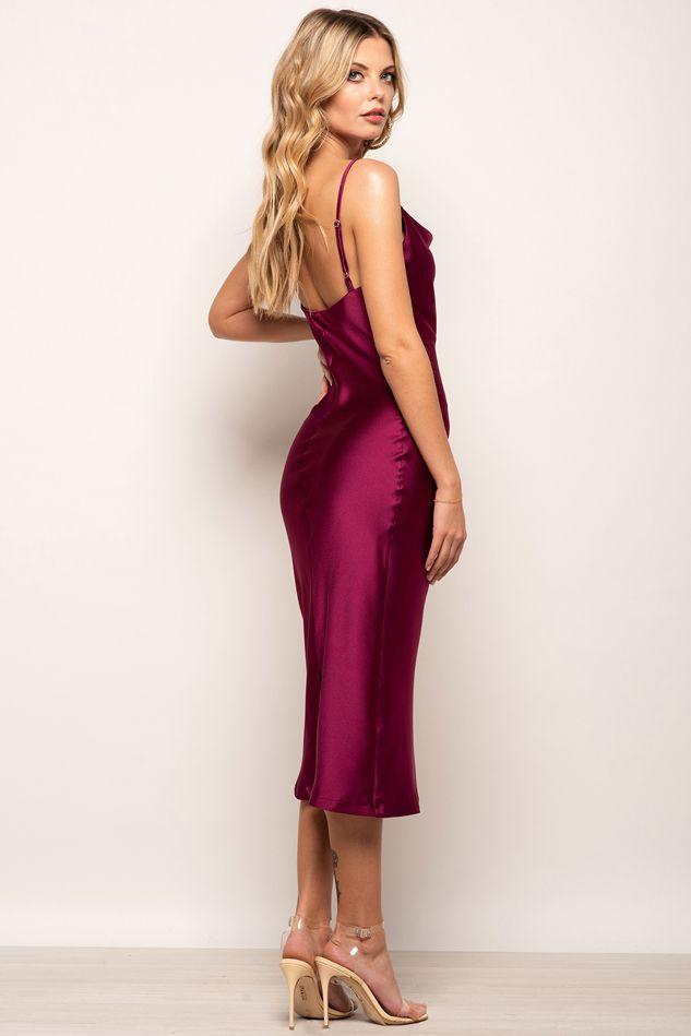 Cowl Neck Satin Slip Cami Midi Dress