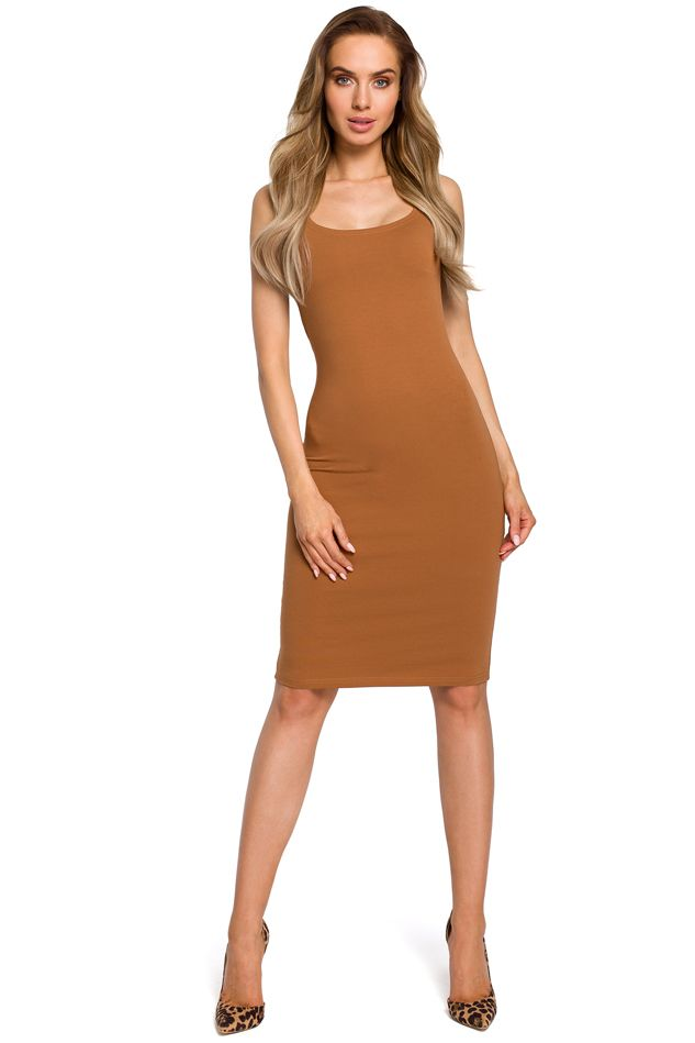 Thick Strap Bodycon Dress in Caramel
