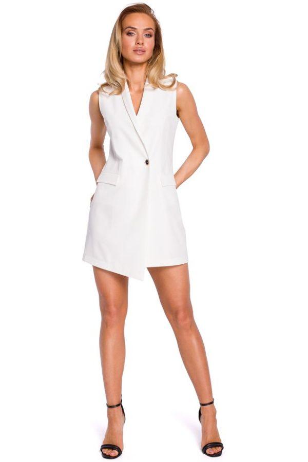 Sleeveless Blazer Dress in Ecru