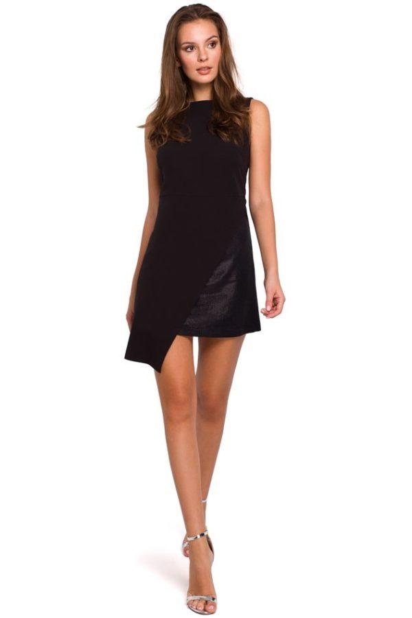 Mini Dress with Asymmetric Hem in Black