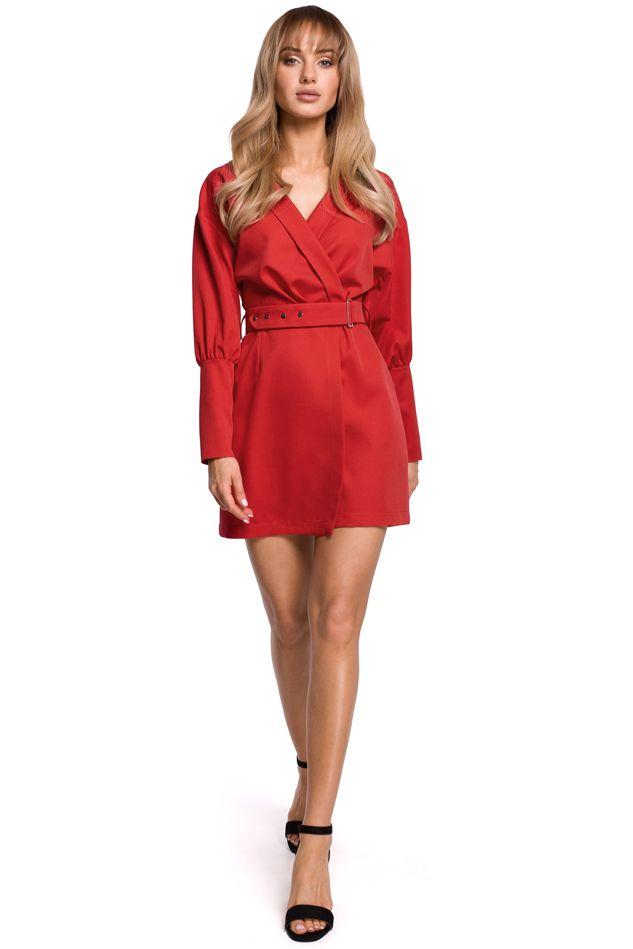 Puff Sleeve Mini Dress in Red
